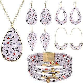 COLORFUL BLING 6 Pcs Teardorp Valentine's Day Plaid Print Jewelry Set Valentine's Day Plaid Multi-Layer Bracelet Faux Leat...