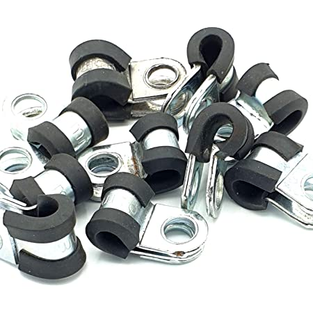 RUBBER LINED /'P/' CLIPS SIZE 6MM ZINC PLATED x 100