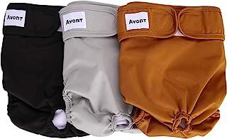 Avont [3枚セット] 犬用おむつ、マナーベルト 生理パンツ 洗濯可 再利用可能 高吸収性 耐久性 - Lサイズ