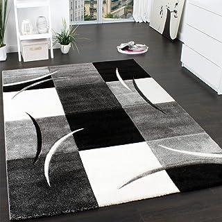 Paco Home Alfombra De Diseño Perfilado - A Cuadros - En Negro Blanco Gris, tamaño:160x230 cm