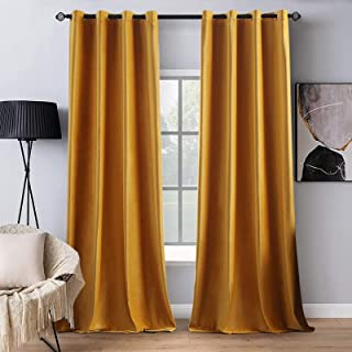 MIULEE Blackout Velvet Curtains Soild Soft Grommet Curtains Thermal Insulated Soundproof Room Darkening Curtains/Drapes/Pa...