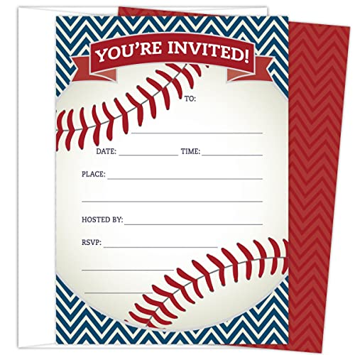 Baseball Party Invitations In Red And Navy Set Of 25 Themed Cards Envelopes