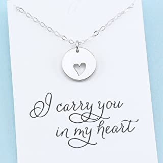 I Carry Your Heart in Mine • Remembrance Charm Necklace • Heart Cutout • Sterling Silver • Parent Sibling Child Loss Miscarriage Friend Gift