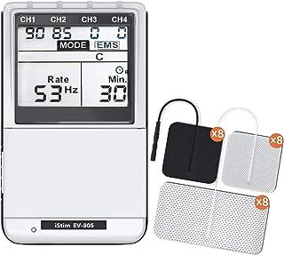 ISTIM EV-805 TENS EMS 4 دستگاه مجتمع قابل شارژ مجدد - ستون فقرات عضلانی + تسکین درد و مدیریت 24 برنامه / نور پس زمینه (شامل الکترودهای پد)