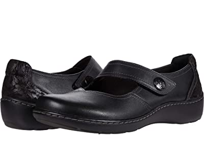 Clarks Cora Dahlia (Black Leather/Textile Combinat) Women