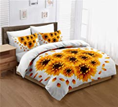 ayigu 3 Pieces Duvet Cover Set Full Size Multi-Colored Sunflowers Heart-Shaped Floral Bedding 1 Duvet Cover 2 Pillowcases ...