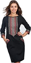 Vyshyvanka Modern Women's Ukrainian Dress with Real Embroidery - Black