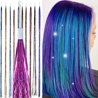 Hair Tinsel Glitter Strands - SILVER -Tie in Colour Extensions kit- Hair Dazzle - Sparkle Heat-Resistant Holographic Extensions, Easy to Apply, Fairy Hair Accessories, Party Hair, Gifts for Girls