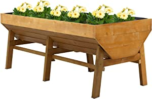 Outsunny 70'' Wooden Raised Garden Bed with Funnel Design, High Weight Capacity Planter Box with Non-Woven Fabric, Large Growing Space and Great Breathability, Natural
