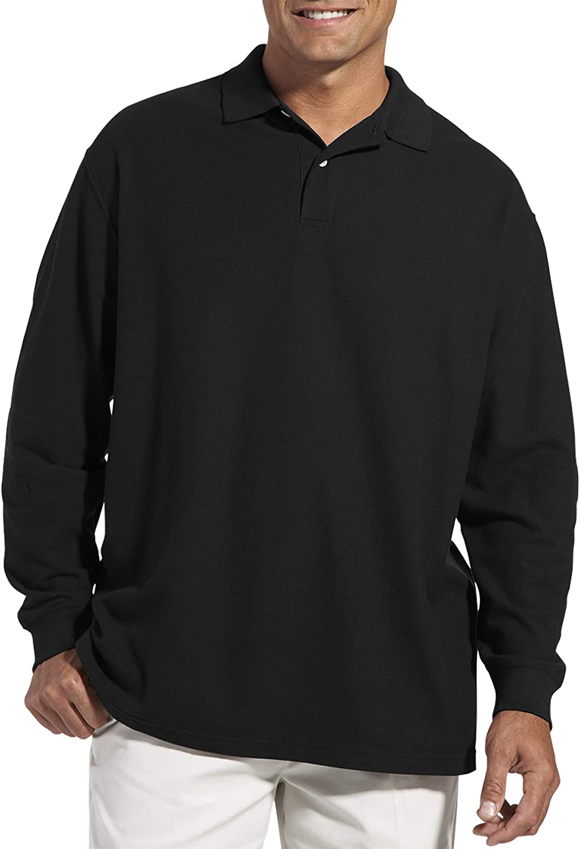 Harbor Bay by DXL Big and Tall Honeycomb Piqué Polo Shirt, Black XL