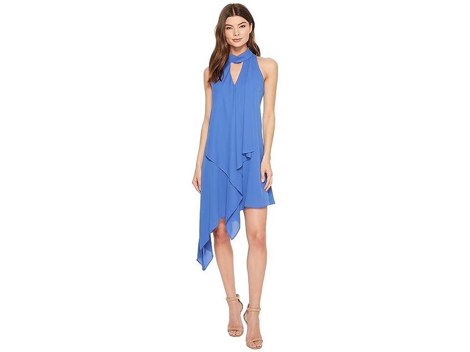 Maggy London Cascade Swing Dress (Denim Blue) Women