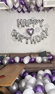 OSG Crafters Happy Birthday Letter Foil Balloon Set of Silver + Pack of 30 HD Metallic Balloons Purple,White and Silver
