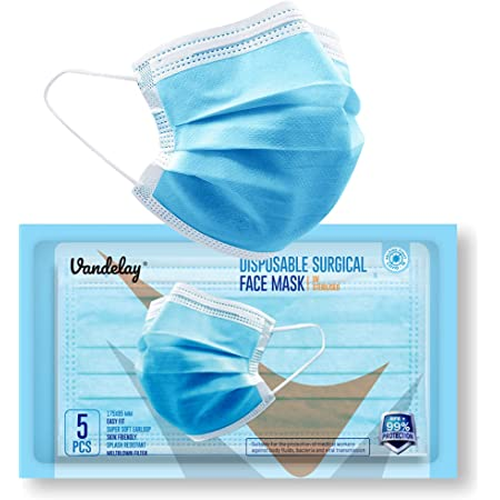 Vandelay® 3 Ply Surgical Mask - BFE & PFE ≥ 99.5% - UV Sterilized - 3 Layer Face Masks - CE, FDA & SITRA - Packed in Pouches of 5 (10 x Pouches)