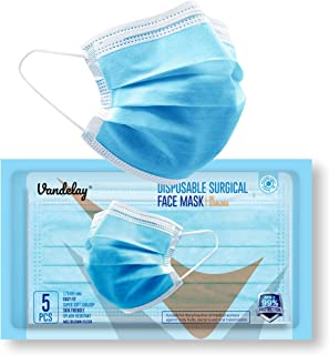 Vandelay® 3 Ply Surgical Mask - BFE & PFE ≥ 99.5% - UV Sterilized - 3 Layer Face Masks - CE, FDA & SITRA - Packed in Pouch...