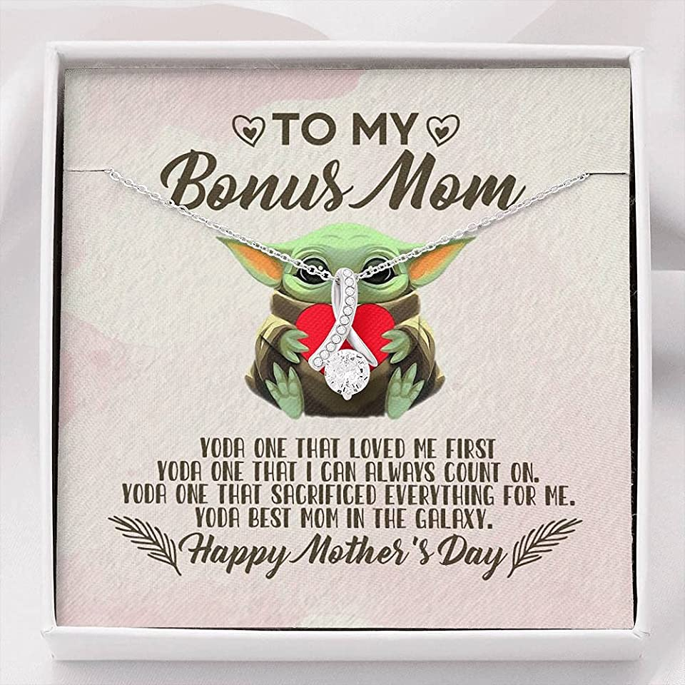 Baby Yoda Necklace To My Bonus Mom Yoda the One That Loves Me First Happy Mother's Day Alluring Beauty Necklace Luxury Jewelry On Birthday, Christmas, Mother's Day Gift with Message Card and Gift Box