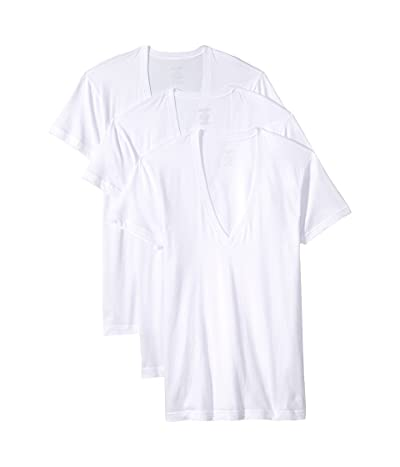 2(X)IST Essential 3-Pack Slim Fit Deep V-Neck T-Shirt (White New Logo) Men