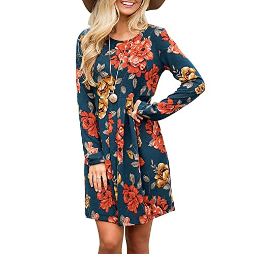 aa2bbf092fd Women s Casual Floral Round Neck Long Sleeve Tunic Pleated Swing Midi T- Shirt Dress