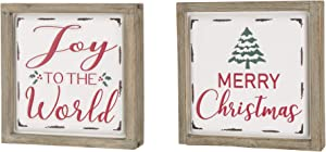 Glitzhome Farmhouse Christmas Decorations Set of 2 Merry Christmas & Joy Metal Wall Signs with Distressed Wood Frame 8 x 8 Inches Wall Hanging Rustic Christmas Decor with Sayings Wall Art