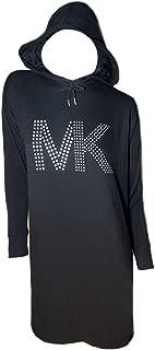 Womens Black Long Sleeve Hoodie Dress Silver MK Studded Logo Petite