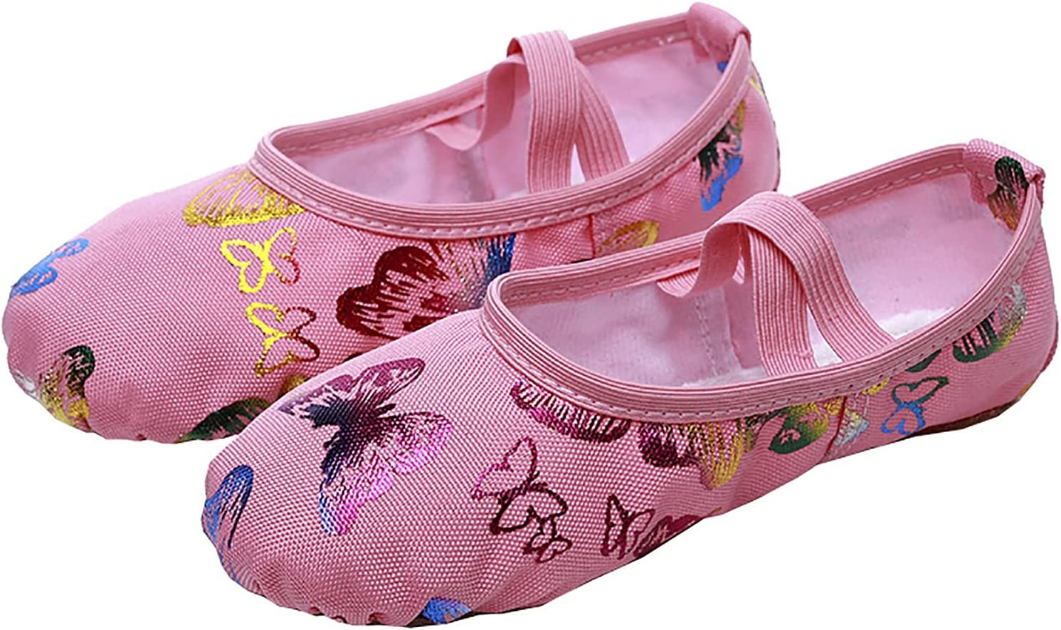 JIAYU Girls Ballet Shoes Dance Shoes Canvas Printing Ballet Slipper Split Leather Sole Yoga Gymnastic Shoes for Ladies (Color : Multi-Colored, Size : 29)