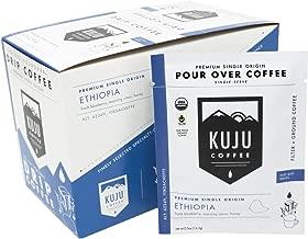 Kuju Coffee Premium Single-Serve Pour Over Coffee | Fair Trade Certified, USDA Organic, Single Origin Coffee, Eco-Friendly | Ethiopia - Yirgacheffe, 10-pack