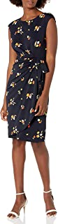 Amazon Brand - Lark & Ro Women's Cap Sleeve Bateau Neck Wrap Dress