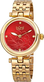 Burgi BUR223 Stainless Steel Designer Women's Watch – 4 Genuine Diamond Markers on Flower Embossed Sunray Dial, Polished Bezel - Elegant Link Bracelet