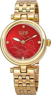 Burgi Stainless Steel Designer Women's Watch – 4 Genuine Diamond Markers on Flower Embossed Sunray Dial - Great Mother's Day Gift - BUR223
