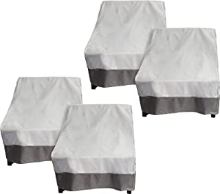 Reusable Revolution 4 Pack Deep Chair Patio Cover - Outdoor Furniture Set Cover (Grey w/Dark Grey Trim)