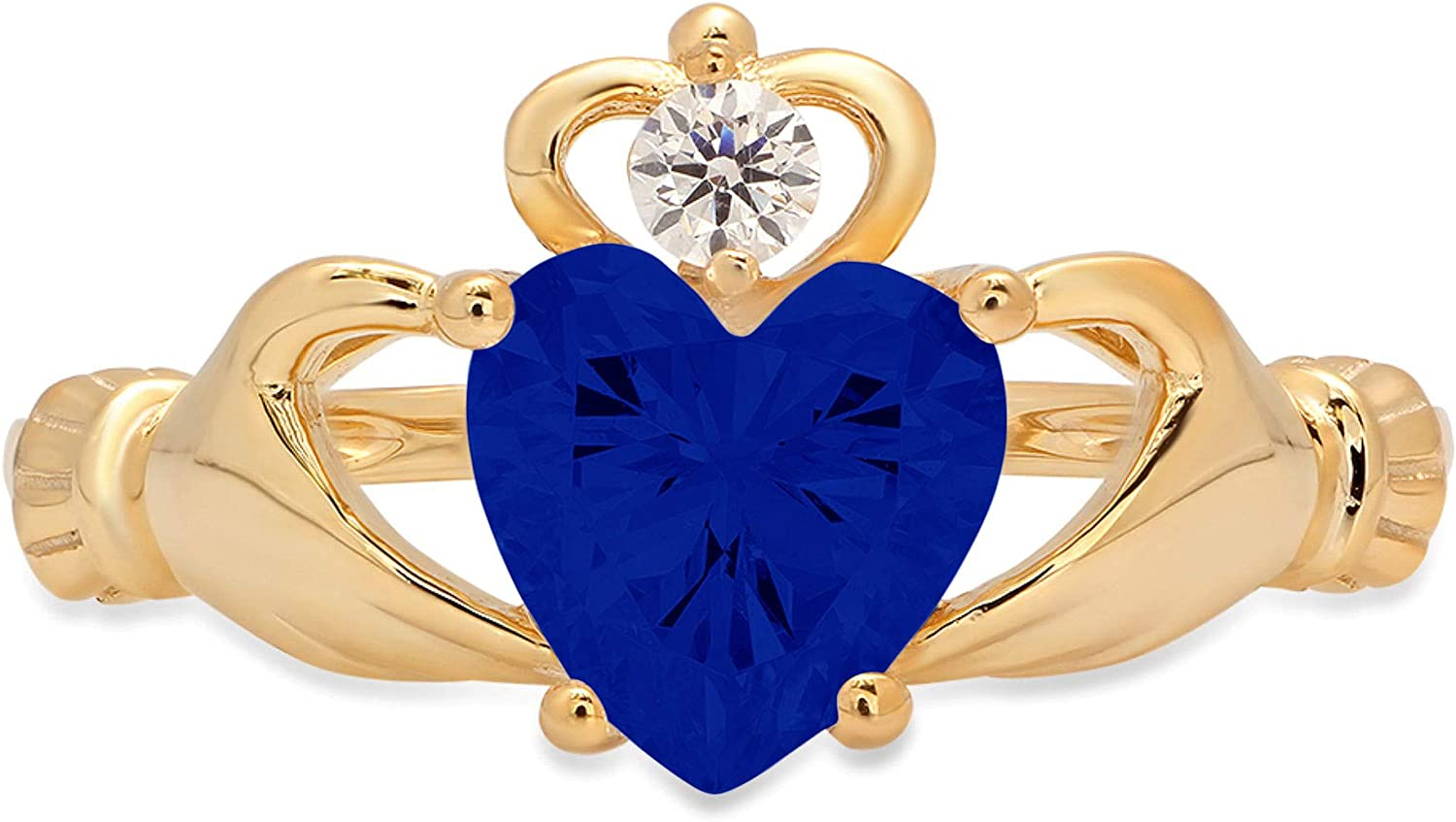 1.52ct Heart Cut Irish Celtic Claddagh Solitaire Flawless Simulated Blue Sapphire VVS1 Designer Modern Statement Ring Solid 14k Yellow Gold