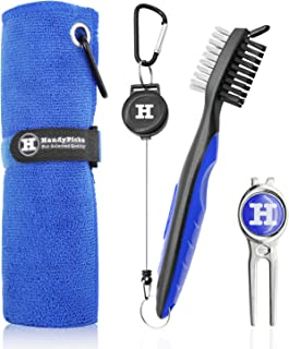 Microfiber Golf Towel (40 X 40cm) with Carabiner, Club Brush, Golf Divot Repair Tool with Ball Marker - Golf Accessories, ...