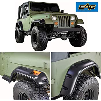 EAG Fender Flares with Mounting Hardware Pocket Style Fit for 97-06 Jeep Wrangler TJ