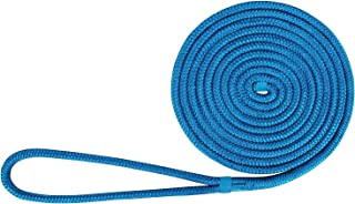 Amarine Made 3/4 Inch 30 FT Double Braid Nylon Dock Line Mooring Rope, Safe Workload:1900 Lbs;Tensile Strength:9500 Lbs;Color:Black,  White,  Blue, Red