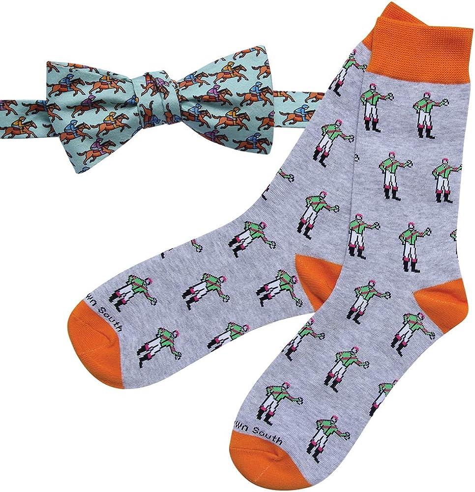 Mens Kentucky Derby Horse Racing Silk Bow Tie and Matching Jockey Dress Sock Set