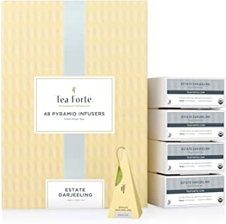 Tea Forte Estate Darjeeling Black Tea Event Box Bulk Pack, 48 Handcrafted Pyramid Tea Infusers