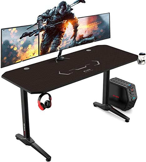 AuAg Gaming Tisch 140 cm, Groß Gaming Schreibtisch for PC Ergonomischer Gamer Tisch, Schwarz Computertisch mit Getränkehalter und…