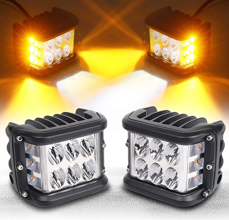 LED Side Shooter Pods Light, 4 Pulgadas 45W Offroad Dual Side Yellow DRL con Función de Flash Estroboscópico Para Flood Spot Cube Barra de luces de trabajo para Jeep Truck ATV Boat