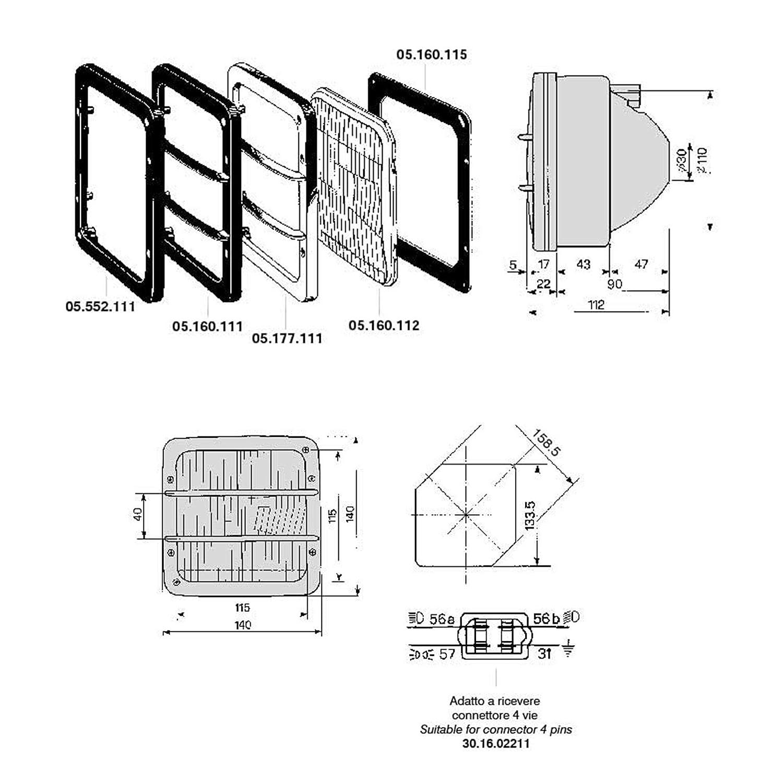 Cobo Vorderlicht Quadrato Rahmen Schwarz Für Traktor 1014916 Baumarkt