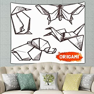 Hand Drawn Origami Figures Set Animals Wildlife Butterfly The Arts Tapestry Wall Hanging, Hippie Sunset Forest Tapestry, Wall Art Decoration for Bedroom Living Room Dorm, Window Curtain Picnic Mat 50