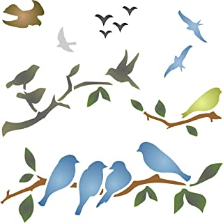 Birds on Branches Stencil - 10 x 10 inch (L) - Reusable Bird Branch Silhouette Stencils for Painting - Use on Walls, Floors, Fabrics, Glass, Wood, and More…