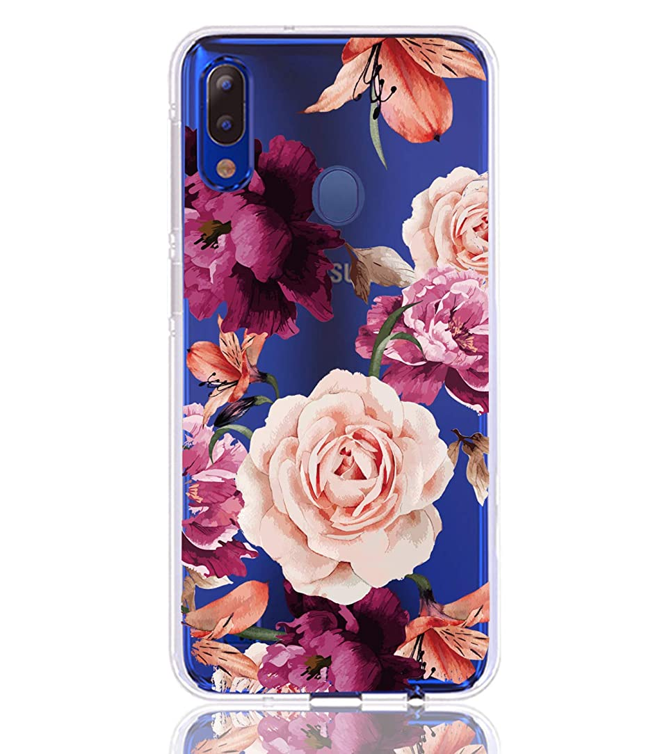BAISRKE Galaxy M20 Case Slim Shockproof Clear Case with Flora Pattern Soft Flexible TPU Back Cover Phone Case for Samsung Galaxy M20 2019 [Purple Pink Flowers]