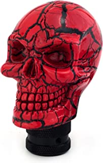 Thruifo Skull MT Car Stick Shifter, Small Teeth Devil Head Style Gear Shift Knob Fit Most Manual Automatic Vehicles, Red Pattern