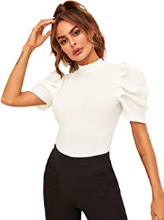 Floerns Round Neck Rose Patch 3/4 Sleeve Loose Knot Front Top T-Shirt