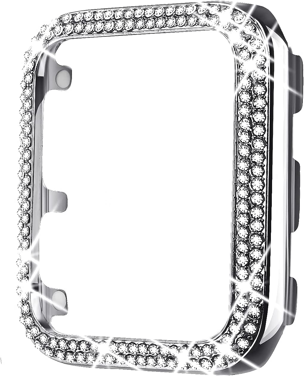 Secbolt 40mm Bling Metal Case Compatible with Apple Watch- All Around Protective Cover Bumper Frame for iWatch SE Series 6/5/4, for Women Girls(Silver)
