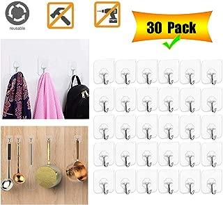 Adhesive Hooks Wall Hanger Hook, Bathroom Kitchen Transparent Reusable Seamless Scratch Wall Hooks for Towel Loofah Bathrobe Coats Ceiling Hanger,Hanging Waterproof Plastic Hooks -30 Packs