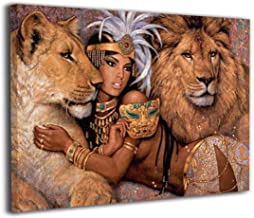 Absonne Canvas Wall Art Egypt Queen African Woman and Lion Streched and Framed Paintings Picture for Home Decorations Wall Decor