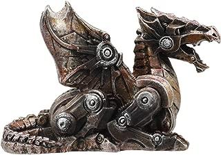 Ebros Small Photon Steampunk Cyborg Dragon Statue Mechanical Robotic Winged Beast Figurine In Faux Bronze Finish