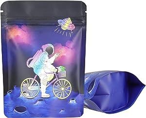 Smell Proof Mylar Bags丨3.5G Mylar Bags丨Resealable Food Packaging Bag丨Aluminum Foil Ziplock Mylar Bags For Food Storage丨3.62x5 inch Purple KGCCIZI (50)