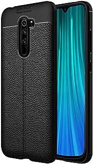 CEDO Silicon Soft Flexible Leather Textured Auto Focus Shock Proof Bumper Back Cover for Xiaomi Redmi Note 8 Pro (Black)