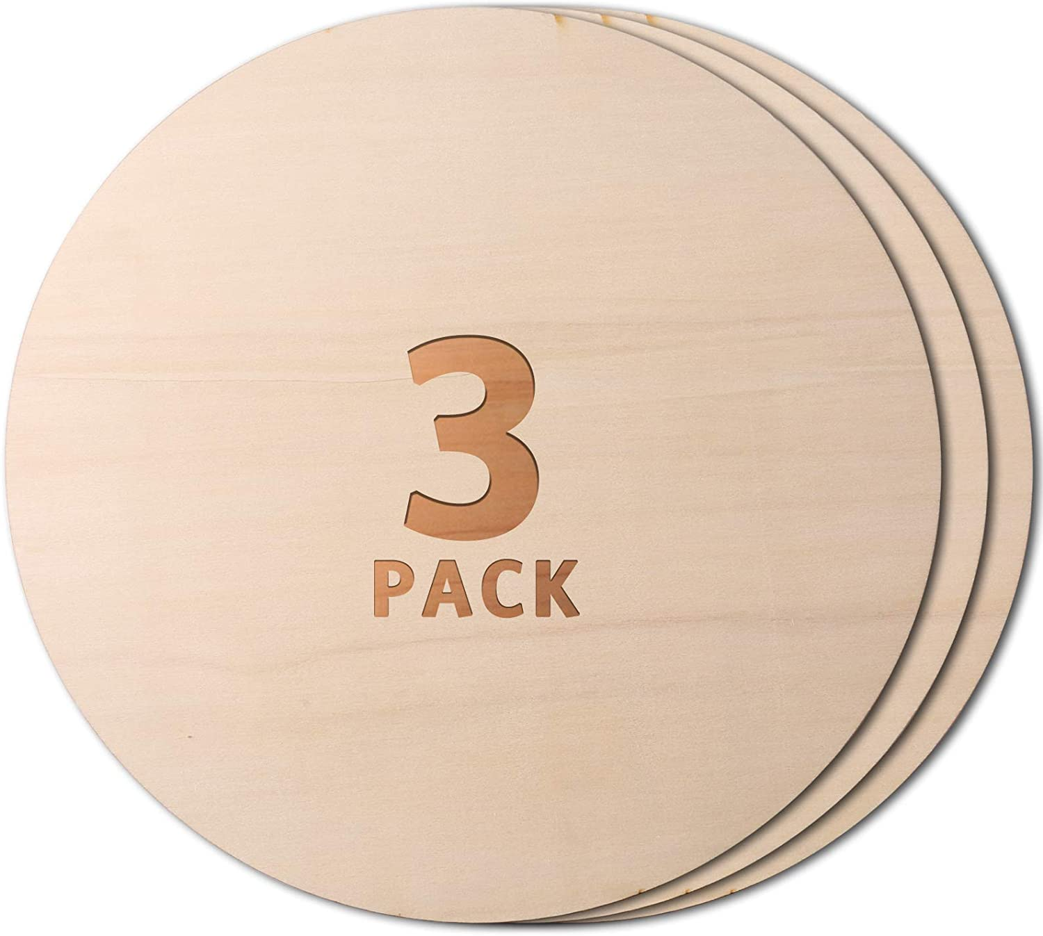 Unfinished Wood Circle Wood Circles for Crafts for Arts Painting 3 Pieces 12 Inch Christmas Wooden Circle Door Hanger Wedding Decoration and Crafts Christmas Ornaments DIY Crafts